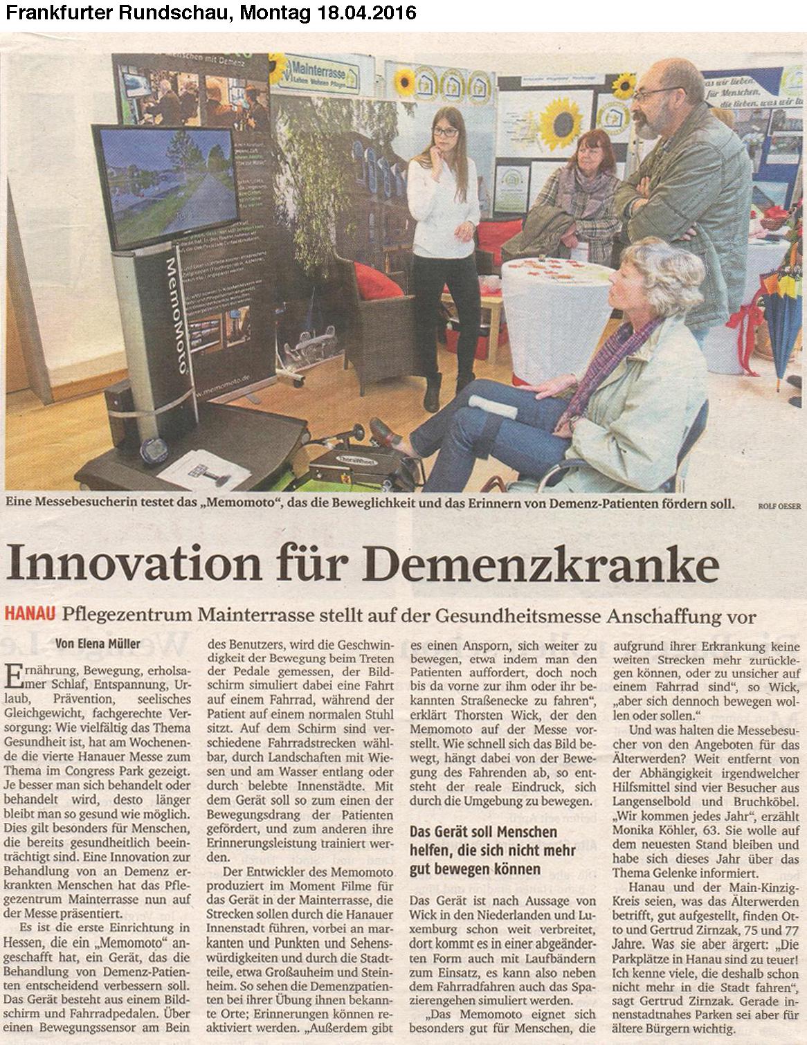Frankfurter Rundschau mit Beschriftung 18-04-2016