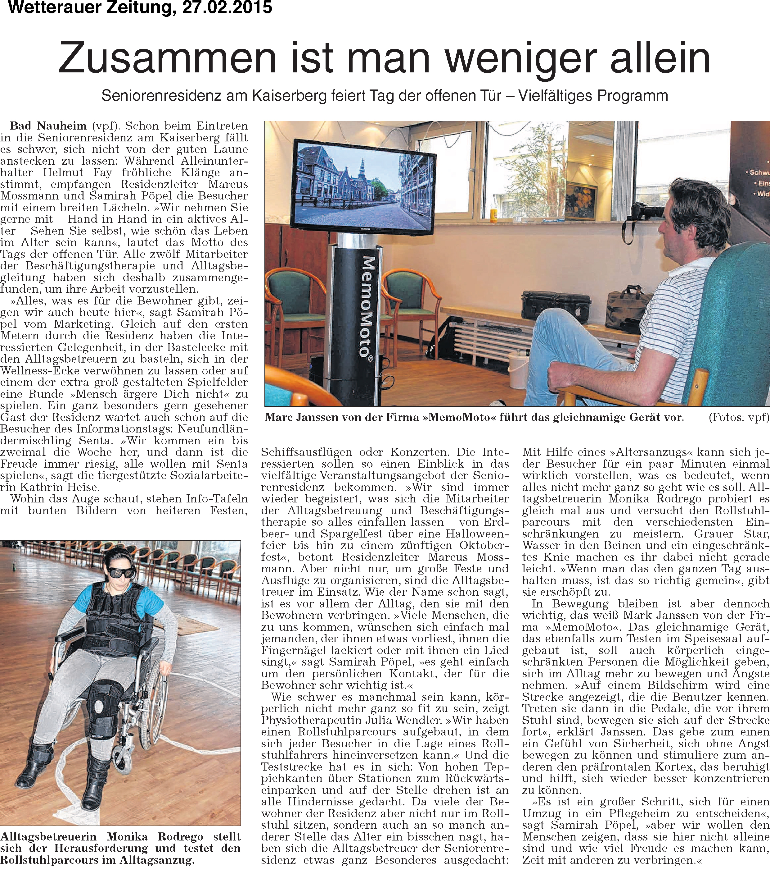 Wetterauer Zeitung mit Beschriftung 27-02-2015