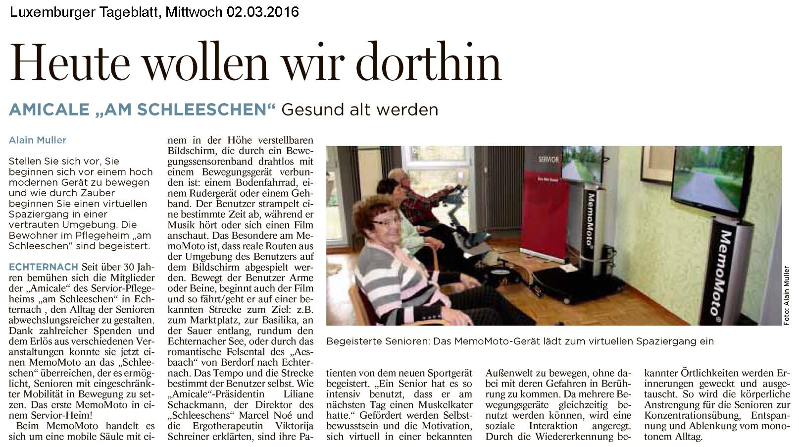 "Luxenburger Tageblatt ""Heute wollen wir dorthin"" 02-03-2016"